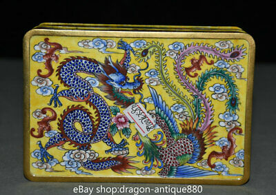 "6"" Old Marked Chinese Palace Copper Enamel Color Dragon Phoenix Storage Box"
