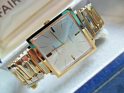 LNOS Vintage 1960's Men's Fairfax 17 Jewel Swiss Gold Plated Watch w/ Boxes