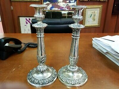 ANTIQUE JUDAICA: A PAIR OF EARLY SILVER CANDLESTICKS. Frankfurt, c. 1800.