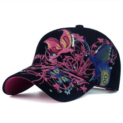 SALE! Baseball Cap For Women With Butterflies And Flowers Embroidery Adjustable