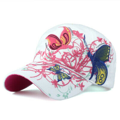 *SALE*Baseball Cap For Women With Butterflies And Flowers Embroidery Adjustable