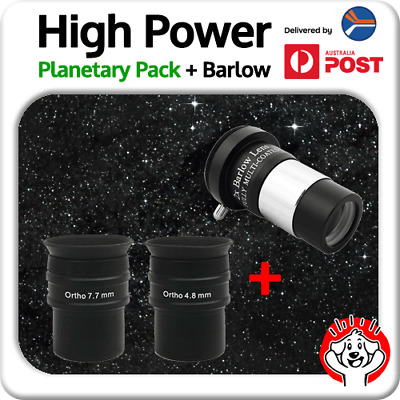 """Abbe Ortho Telescope Eyepiece 1.25"""" 4.8mm and 7.7mm Planetary Pack + x2 Barlow"""