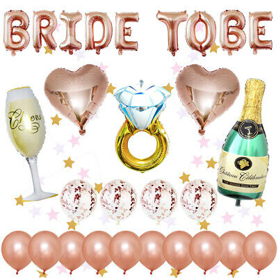 29Pcs Rose Gold Bride To Be Latex Confetti Wedding Hen Party Balloons Decoration