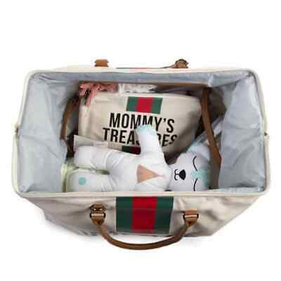 CHILDHOME Diaper Bag Off-White and Red Canvas Mommy Nappy Changing Handbag