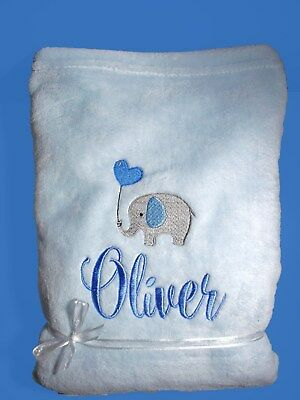 Personalised Baby Blanket Cot Pram Any Name 75cmx 90cm Gift Embroidery Elephant