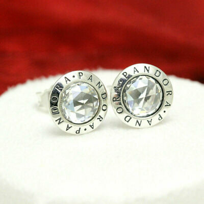 cc685fac6 New Authentic Pandora Sterling Silver Radiant Logo Stud Earrings 296216CZ