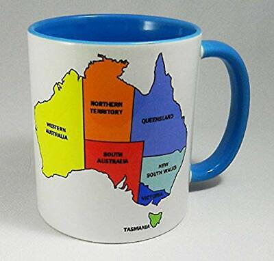 Colourful Map of Australia Tasse with glazed blue handle and blue inner