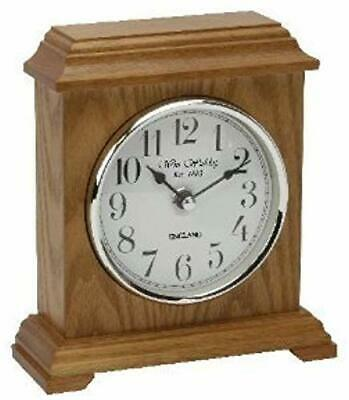 Napoleon Oak Finish Wooden Mantel Clock Carriage Style