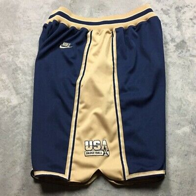 c161ee26bed 90s VTG NIKE AIR JORDAN USA Basketball LOGO Shorts DREAM TEAM L Navy Gold OG