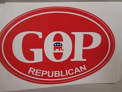 WHOLESALE LOT OF 10 GOP REPUBLICAN OVAL STICKERS Elephant TRUMP FOR PRESIDENT $
