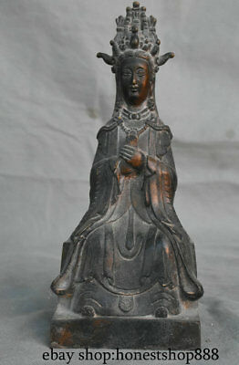 """9.6"""" Old China Bronze Dynasty Palace Goddess of Heaven Queen Mother Sculpture"""