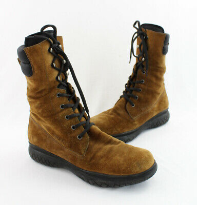 91c682c341b Prada Brown Suede Rubber Sole Lace Up Mid Calf Boot Shoe Size 37.5 7.5