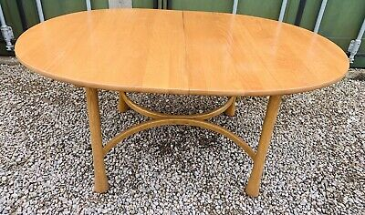 Ercol Rare Savil Model Extendable Dining Table Seat   8 Light Elm  Mid Century