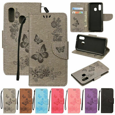 Luxury Butterfly Magnetic Flip Leather Wallet Case Cover For Samsung Galaxy A20E