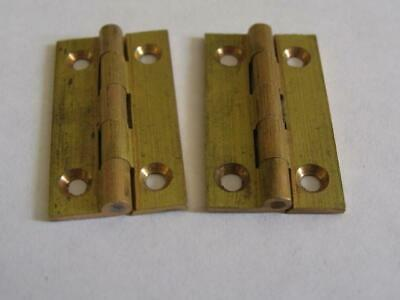 "Pair vintage quality solid brass butt hinges  1 1/4"" x 11/16""   jewellery boxes,"