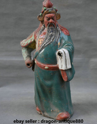 "15.6"" Old Chinese Wucai Porcelain Dynasty Feng Shui Guan Gong General Sculpture"