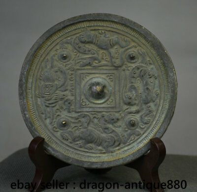 "5"" Old Chinese Bronze Ware Dynasty Dragon Beast Evil spirits Girl Mirror Mirrors"