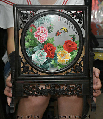 "14"" Old Chinese Ebony Wood Inlay Embroidery Dynasty Palace Flower Screen Statue"