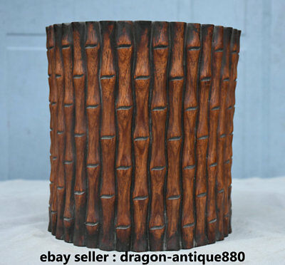 """8.4"""" Old Chinese Huanghuali Wood Carving Bamboo Striation Brush Pot Pencil Vase"""