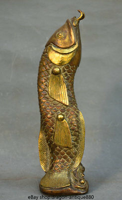 "11.6"" Old Chinese Bronze Gilt Folk Feng Shui Animal Year Fish auspicious Statue"
