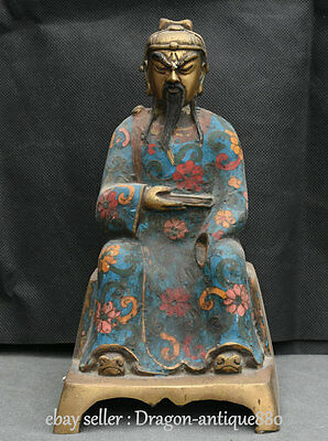 """9"""" Old Chinese Cloisonne Enamel Dynasty Palace Guan Gong Yu Warrior God Statue"""