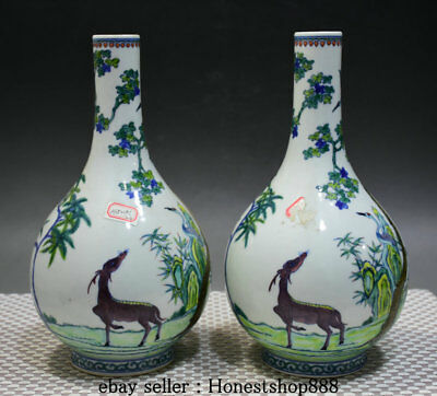"10.4"" Marked Old China Wucai Porcelain Palace Deer Crane Tree Bottle Vase Pair"