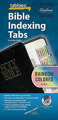 Tabbies Rainbow Bible Indexing Tabs, Old  New Testaments, 80 Tabs Including 64