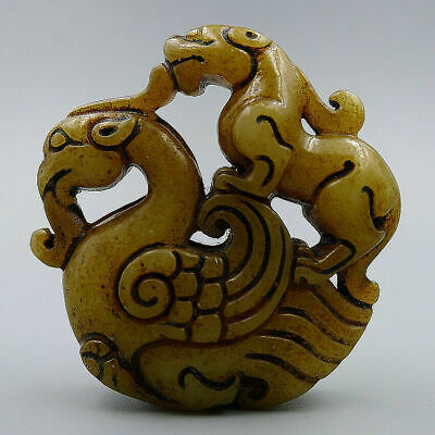 Chinese Natural Old Jade Hand Carved Mythical Animal Lucky Pendant Charm Jewelry