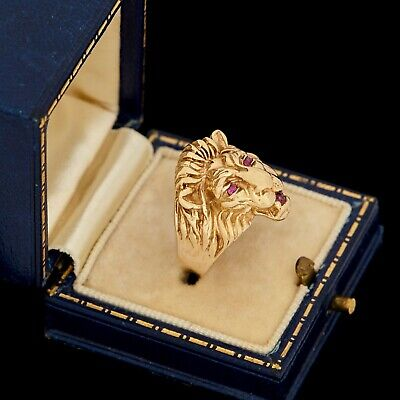 Antique Vintage Art Deco 14k Yellow Gold Ruby Lion Figural Mens Band Ring S 8.75