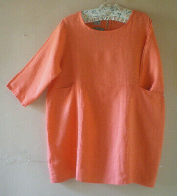 977f34011d2 MB GERMANY LAGEN Look Tunic Top 100% Linen Coral Pink/Black Size 1 ...