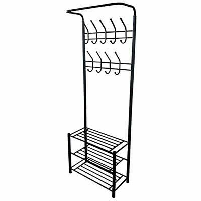 Black Coat Racks Metal Entryway Storage 3-tier Shoe With Hat 18 Hooks Kitchen ""