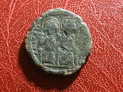 BYZANTINE EMPIRE Justin II Æ Follis Justin and Sophia Christian Rare coin
