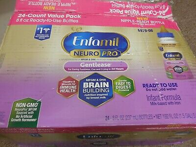 8oz enfamil infant formula w iron ready to feed 24 bottles gentlease neuro pro