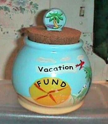 Vacation Fund Canister with Cork Top  Beach Scene