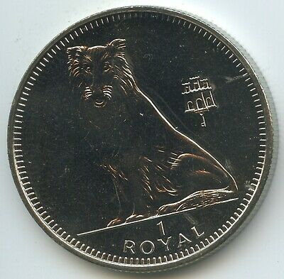 GS1415 - Gibraltar 1 Royal 1995 KM#318 UNC Hund Collie Elizabeth II.