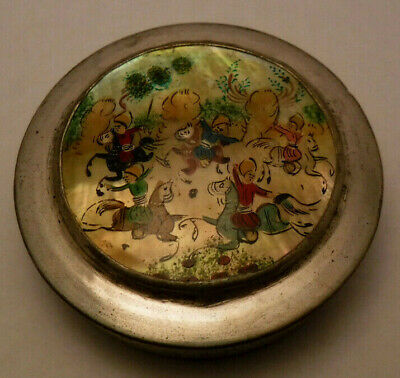 Antique Persian Mother of Pearl Hand Painted Snuff Box Compact Mirror Warriors