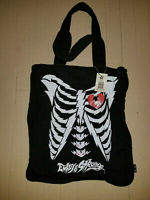 f2a4423102 EMILY THE STRANGE Hot Topic Ribcage Sabbath Jersey Zipper Tote Bag NWT!