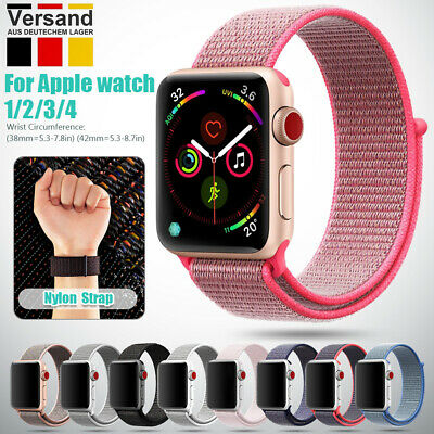 Nylon Armband Uhrenarmband Sport Loop Strap Band Für Apple Watch Serie 1/2/3/4DE