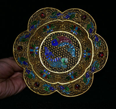 "6"" Rare Old Chinese Royal Palace Copper Gold Wire Painted Two Fish Flower Plate"