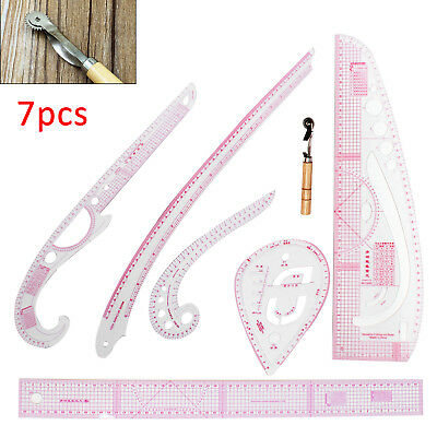 7pcs Sew French Curve Metric Ruler Multifunction Sewing Dressmaking Tailor Tool!