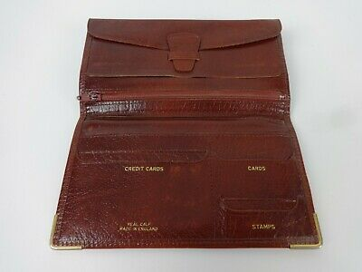 Vintage Real Calf Leather Wallet Tobacco Pouch Tan Brown Bi Fold Rectangle Mens