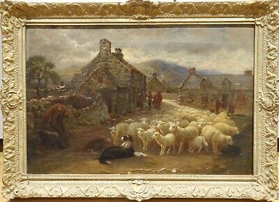 19th Century English Village Border Collie & Sheep Scene Antique Oil Painting