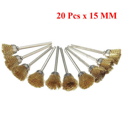 20Pcs 15mm Brass Wire Grinding Cup Brushes Set for Dremel Die Grinder Rotary UK