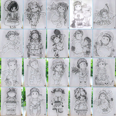 Girl Boy Transparent Silicone Clear Stamps DIY Cutting Dies Scrapbook Embossing