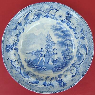 Pearlware Soup Plate Blue & White GOODFELLOW c1820