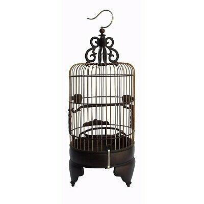 High Quality Handmade Chinese Tan Rosewood Round Shape Collectible Birdcage n257