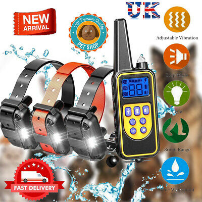 Pet Dog Waterproof Training Collar Rechargeable Electric Shock LCD Display 800m