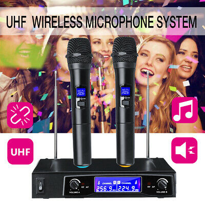 220V Pro Audio Wireless UHF 2 Channel Dual Handheld Microphone Mic Karaoke Stage