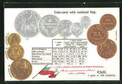 AK Chile, Coin-card with national flag, Geldmünzen und Umrechnungstabelle, Flag
