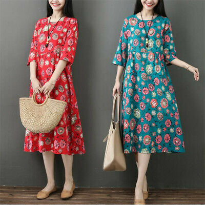 New Women Ethnic Cotton Linen 3/4 Sleeve Loose Chinese Floral Casual Maxi Dress
